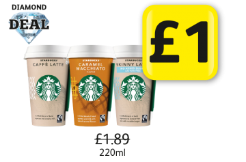 DIAMOND DEAL: Starbucks Latte Original, Caramel Macchiato, Skinny Latte, Was £1.89 - Now £1 at Londis