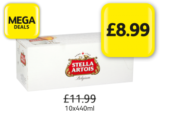MEGA DEALS: Stella Artois,  Was £11.99 - Now £8.99 at Londis