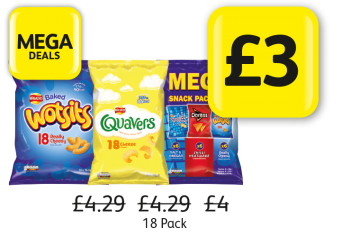 MEGA DEALS:  Walkers Quavers, Wotsits, Mega Snack Pack, Was £4.29, £4 - Now £3 at Londis