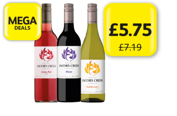 MEGA DEALS: Jacobs Creek Shiraz Rose, Merlot, Chardonnay, was £7.19 - Now only £5.75 at Londis