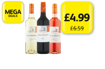 MEGA DEALS: Isla Negra Seashore Sauvignon Blanc, Merlot, Rose, Was £6.59 - Now Only £4.99 at Londis