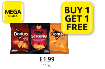 MEGA DEALS: Walkers Max Strong, Doritos, £1.99 - Buy 1 Get 1 Free at Londis