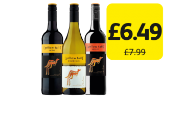 Yellow Tail Shiraz, Chardonnay, Merlot, Was £7.99 - Now only £6.49 at Londis
