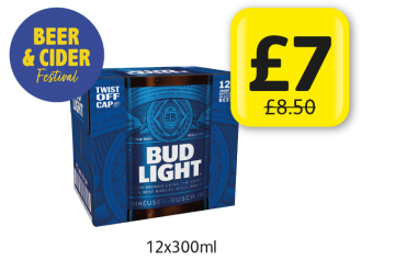 BEER & CIDER FESTIVAL: Bud Light, was £8.50 - Now only £7 at Londis