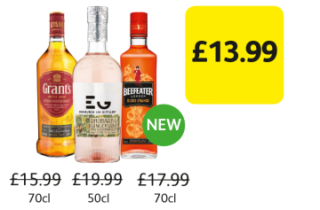 Edinburgh Gin Rhubarb & Ginger Liqueur, Beefeater Gin Blood Orange, Grant's Whisky - Was £19.99, £17.99, £15.99, Now £13.99 at Londis