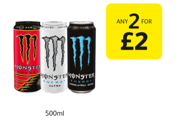 Monster Ultra, Absolutely Zero, Lewis Hamilton 44 - Any 2 for £2 at Londis