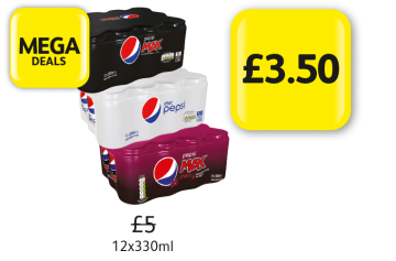 Mega Deals: Pepsi Max Original, Cherry, Diet Pepsi, 12 x 330ml, Was £5, Now Only £3.50 at Londis