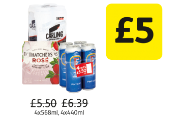 Thatchers Rose Cider, Carling, Fosters - Was £5.50, £6.39, £5.50, Now £5 at Londis
