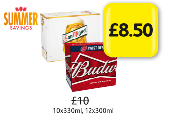 SUMMER SAVINGS: San Miguel, Budweiser,  Was £10 - Now only £8.50 at Londis