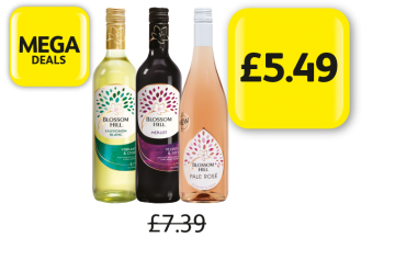 MEGA DEALS: Blossom Hill Sauvignon Blanc, Merlot, Pale Rose, Was £7.39 - Now £5.49 at Londis