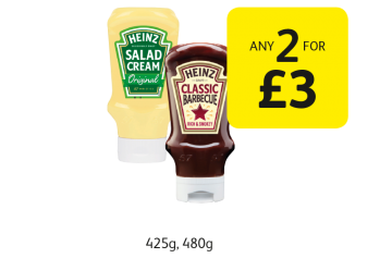 SUMMER SAVINGS: Heinz Salad Cream Squeezy Original, Bull's-Eye New York Steakhouse Sauce BBQ Original - Any 2 for £3 at Londis