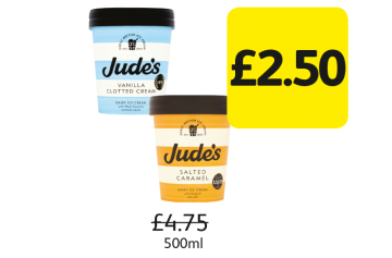 SUMMER SAVINGS: Jude's Ice Cream, Was £4.75 - £2.50 at Londis