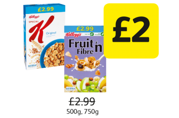 Kellogg's Fruit 'n Fibre, Special K, Was £2.99 - Now £2 at Londis