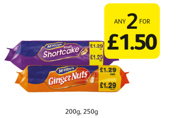 McVitie's Ginger Nuts, Fruit Shortcake  - Any 2 for £1.50 at Londis