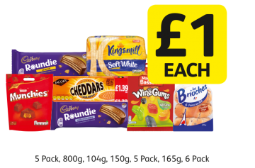 Cadbury Roundies Chocolate, Caramel, Kingsmill Soft White Medium, Munchies, Jacobs Cheddars and more...  - £1 Each at Londis