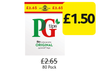 PG Tips Tea Bags, Was £2.65 - Now Only £1.50 at Londis
