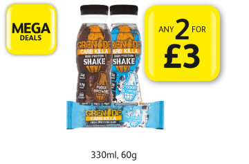 MEGA DEALS: Grenade Carb Killa High Protein Shake, Protein Bar - Any 2 for £3 at Londis