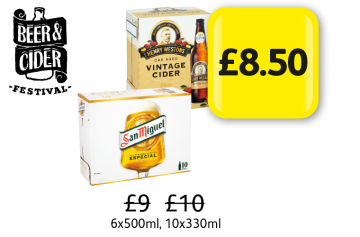 BEER & CIDER FESTIVAL: Henry Westons Vintage Cider, San Miguel, Was £9, £10 - Now only £8.50 at Londis