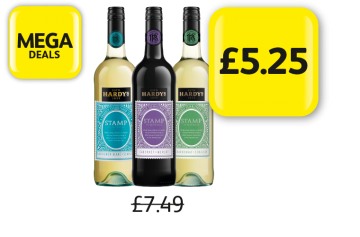 MEGA DEALS: Hardys Stamp Sauvignon Blanc Semillon, Cabernet Merlot, Chardonnay Semillon, Was £7.49 - Now Only £5.25 at Londis