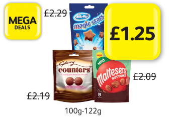 MEGA DEALS: Milkyway Magic Stars, Galaxy Counters, Maltesers Buttons Mint, Was £2.29, £2.19, £2.09 - Now Only £1.25 at Londis