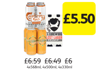 Carlsberg Export, Cobra, Brewdog Lost Lager, Was £6.59, £6.49, £6 - Now only £5.50 at Londis