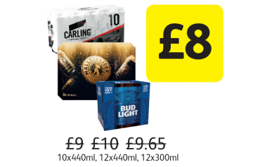 Carling, Malletts Original Cider, Bud Light, Was £9, £10, £9.65 - Now only £8 at Londis