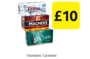 Coors Light, Magners Original, John Smith's Extra Smooth  - Only £10 at Londis