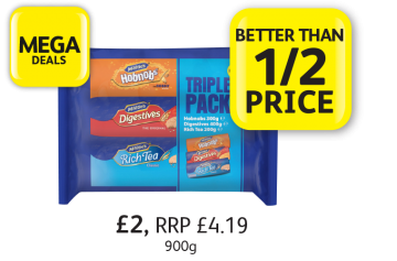MEGA DEALS:McVitie's Triple Pack  Hobnobs, Digestives, Rich Tea, RRP £4.19, £2 - Better Than 1/2 Price at Londis