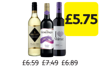 Rosemount Founders Edition Chardonnay, Echo Falls Merlot, I Heart Shiraz, Was £6.59, £7.49, £6.89 - Now only £5.75 at Londis
