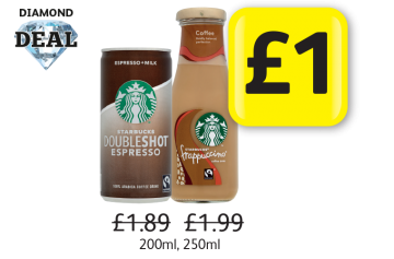 DIAMOND DEAL: Starbucks Doubleshot Espresso, Frappuccino Coffee, Was £1.89, £1.99 - Now Only £1 at Londis