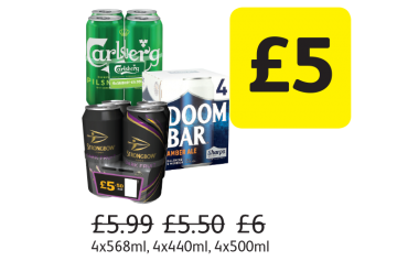 Strongbow Dark Fruit, Sharp's Doom Bar, Carlsberg Pilsner, Was £5.99, £5.50, £6  - Now only £5 at Londis