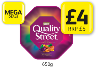 MEGA DEALS: Quality Street Tub, RRP £5 - Now only £4 at Londis