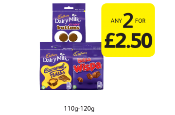 Cadbury Giant Buttons, Caramel Nibbbles, Bitsa Wispa - Any 2 for £2.50 at Londis