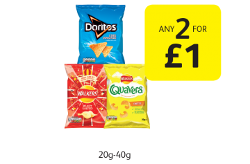 Doritos, Walkers Crisps, Quavers - Any 2 for £1 at Londis