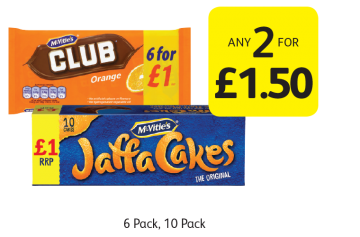 McVitie's Club Orange, Jaffa Cakes - Any 2 for £1.50 at Londis