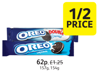 Oreo, Was £1.25, Now 62p - 1/2 Price at Londis
