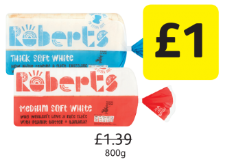 Roberts Bakery White Sliced Bread Medium, Thick, Was £1.39 - Now Only £1 at Londis