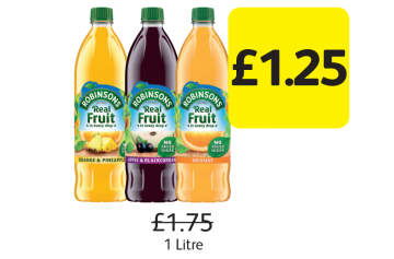 Robinsons Real Fruit No Added Sugar, Was £1.75, Now only £1.25 at Londis