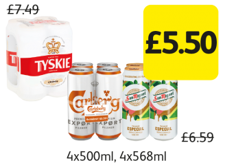 Tyskie Gronie, Carlsberg Export, San Miguel, Was £7.49, £6.59 - Now only £5.50 at Londis